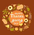 happy thanksgiving day color card beautiful vector image vector image