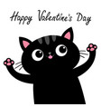 happy valentines day black cat with pink tongue vector image vector image