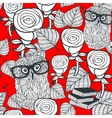 Hipster owls in glasses with tender roses seamless vector image