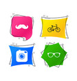 hipster photo camera icon glasses symbol vector image vector image