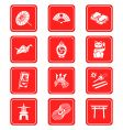 Japanese culture icons vector image vector image