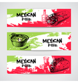 Mexican traditional food menu banners set Hand vector image vector image