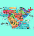 middle east countries map in cartoon style vector image