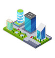modern city district isometric 3d icon vector image vector image