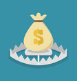 money bag on bear trap vector image vector image