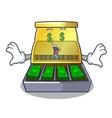 money eye cartoon cash register with a money vector image vector image