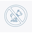 No dog pooping doodle sign vector image vector image