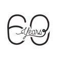 number 60 for anniversary celebration card icon vector image vector image