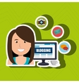 person blogging on desktop computer isolated icon vector image vector image