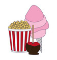 pop corn sugar cotton and caramelized apple blue vector image vector image