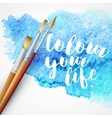 Realistic brush on blue watercolor background vector image vector image