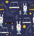 seamless pattern with cute bunny cartoon car and vector image vector image