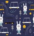 seamless pattern with cute bunny cartoon car vector image