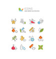 set line icons spices vector image vector image