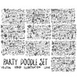 set of party hand drawn doodle sketch line vector image
