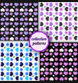 set of seamless pattern with hearts and suns vector image vector image