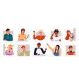 set people smiling and posing adults and teens vector image vector image
