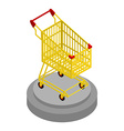 Shopping cart gold Award for best buyer Precious vector image vector image