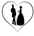 silhouette women and man in love vector image vector image