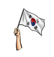south korean flag and hand on white background vector image