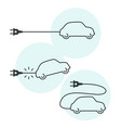 thin line electric car icon with cord and plug vector image vector image