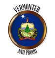 vermont proud flag button vector image