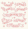 vintage hand drawn holiday ribbons with text vector image