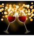 Wineglass on blurred bokeh background Romantic vector image vector image