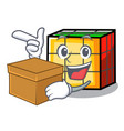 with box rubik cube character cartoon vector image