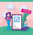 woman and smartphone politics election democracy vector image