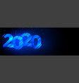 2020 glowing blue creative happy new year banner vector image vector image
