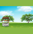 a well in the green landscape vector image vector image