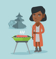 african woman cooking steak on the barbecue vector image vector image