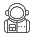 astronaut line icon spaceman and astronomy vector image