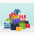 big pile of colorful gifts with bows vector image vector image
