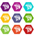 bike helmet icons set 9 vector image vector image