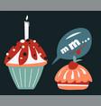 birthday cake with candle christmas holiday vector image