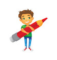 cartoon boy keeping pencil in hand vector image vector image