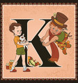 children book cartoon fairytale alphabet letter k vector image vector image