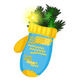 christmas toy form of blue and yellow winter vector image vector image