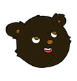 comic cartoon black bear face vector image