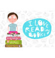 cute boy sitting on pile of books reading vector image vector image