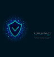 cyber security concept shield with check mark vector image vector image