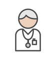 doctor icon with grey hair on white background vector image