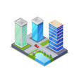 downtown district isometric 3d icon vector image vector image