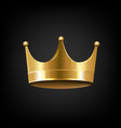golden crown isolated black background vector image