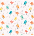 hand drawn cute bird and floral pattern background vector image vector image
