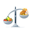 healthy food and fast food on the scales choose vector image vector image
