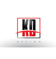 kd k d logo letters with red and black colors and vector image vector image