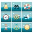 Marine flat icons set vector image